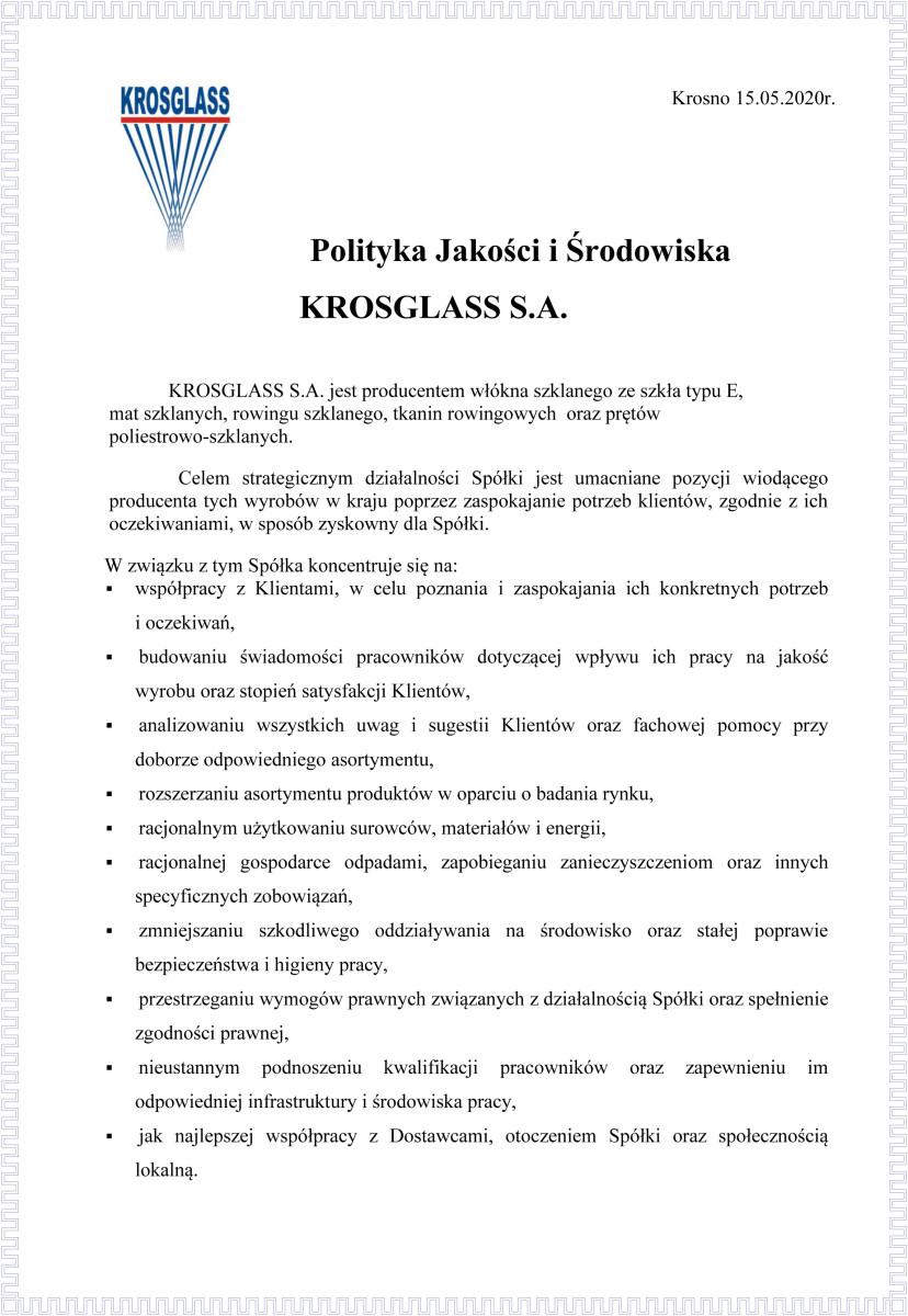 Informacja oprzetwarzaniu danych osobowych Krosglass S.A.