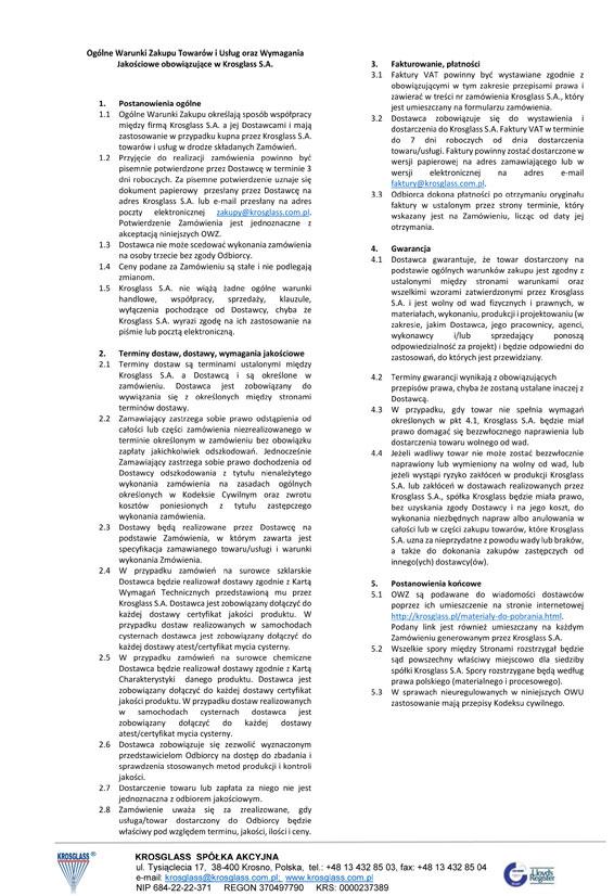 Ogólne Warunki Zakupu - Krosglass S.A.