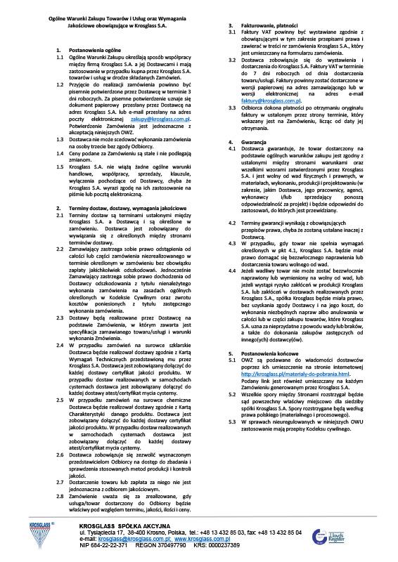 Ogólne Warunki Zakupu Towarów iUsług oraz Wymagania Jakościowe obowiązujące wKrosglass S.A.